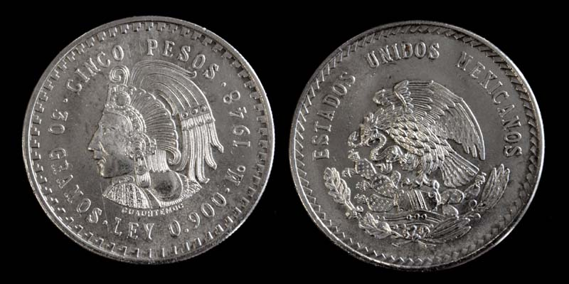 Mexico, 5 Pesos, 1948, Cuautemoc Issue